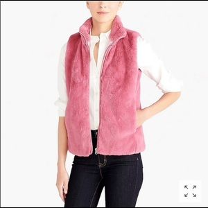 gently used j crew pink faux fur vest